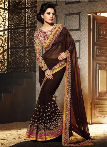 Deep Brown Embroidery Saree 3