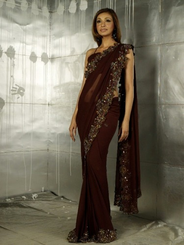 Designer Brown Saree 5