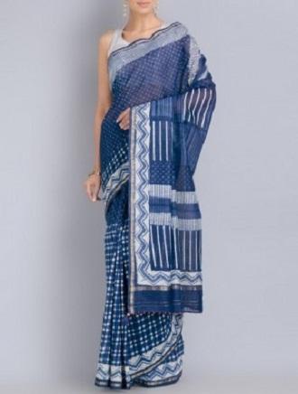 Designer Indigo Cotton Sarees 1