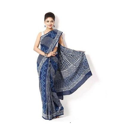 Designer Indigo Cotton Sarees 2