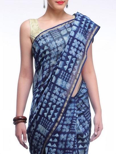 Designer Indigo Cotton Sarees 7