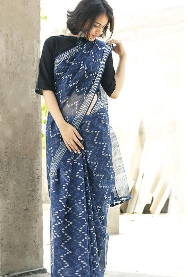 Designer Indigo Cotton Sarees 9