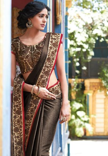 Floral Glossy Brown Saree 4
