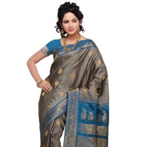 Gadwal Grey Silk Saree 7