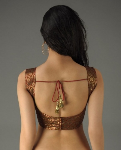 Glossy Golden Low Neck Blouse Design 7