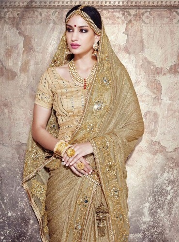 Golden Embroidered Wedding Saree 11