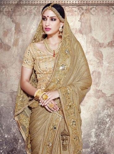 Golden Embroidered Wedding Saree 11