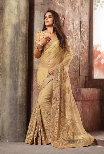 Golden Net Saree 4