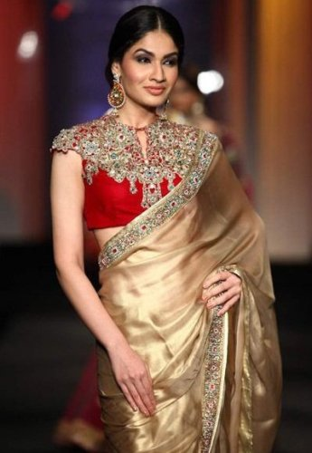 Golden Saree For Full Neck Blouses 12