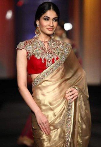 Golden Saree For Full Neck Blouses 12