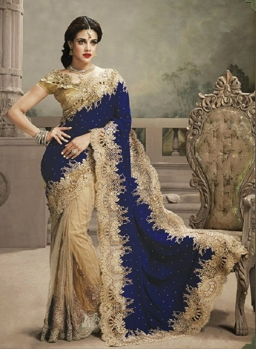 Golden and Blue Heavy Work Saree 14