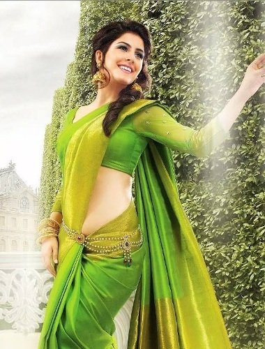 Green Saree For Full Sleeve Blouses 14