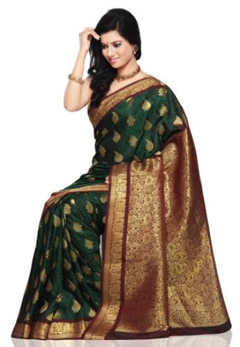 Green Sarees-Dark Green Latest Designer Saree 8