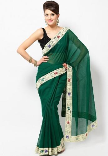 Green Sarees-Dark Green Saree 2