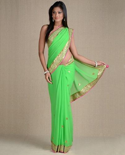 Green Sarees-Fashionable Indian Green Saree 6