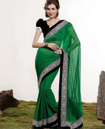 Green Sarees-Green Chiffon Saree 10