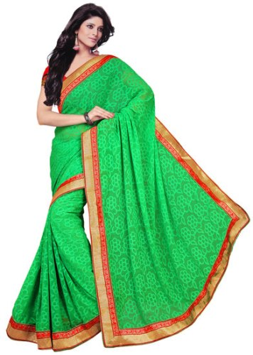 Green Sarees-Greens Saree With Red Borders 7