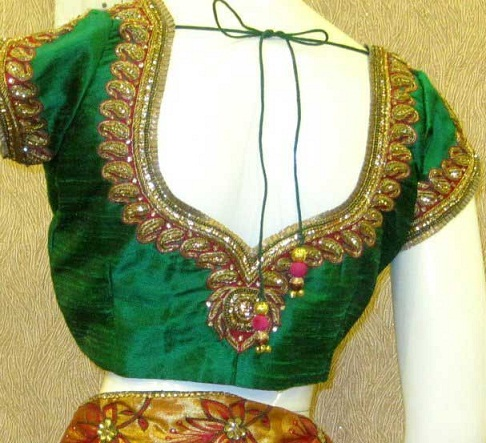 Green blouse designs2