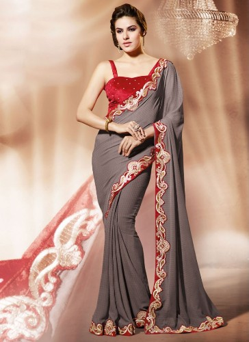 Grey Designer Saree With Red Blouse 8