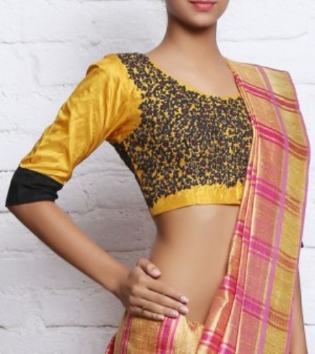Hand Embroidery Blouse Designs-The yellow floral design