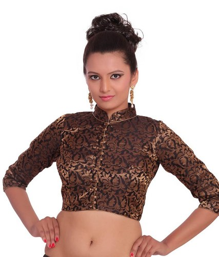 High Neck Blouse Designs-Full Sleeve Brown High Neck Design