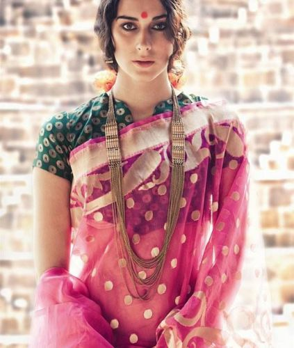High Neck Blouse Designs-Green Dotted High Neck Blouse Design
