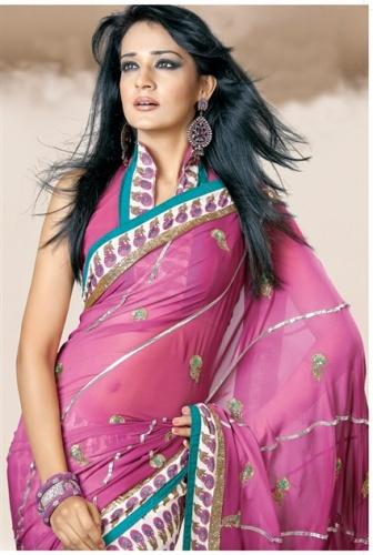High Neck Blouse Designs-Pink High Neck Design