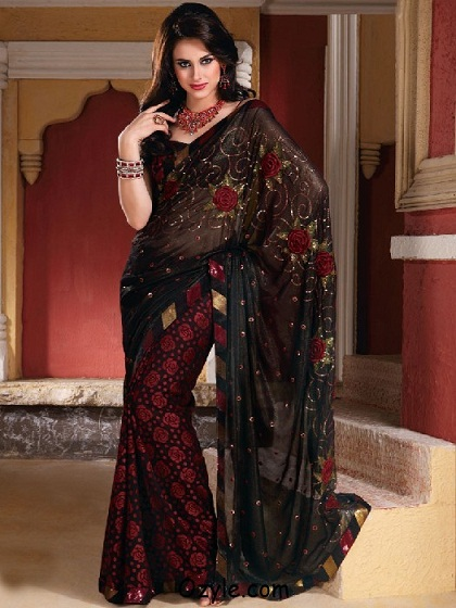 93df4d5bf6 Here is a saree that sports a very attractive design done on it. The  pattern that this particular saree sports in the body as well on the border  portion can ...