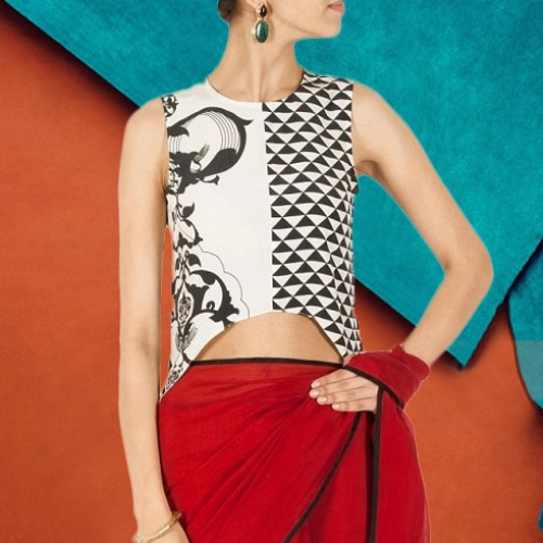 Latest Blouse Designs-Asymmetric Crop Top Blouse