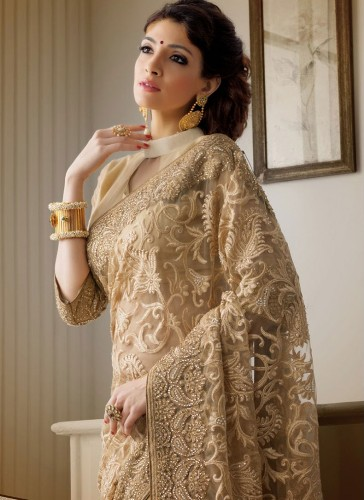 Net Beige Golden Saree 8