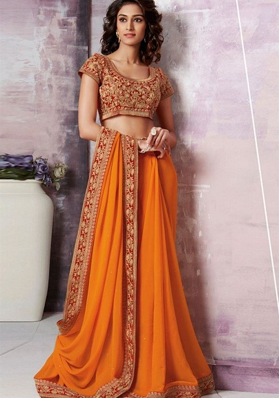 Orange sarees 4