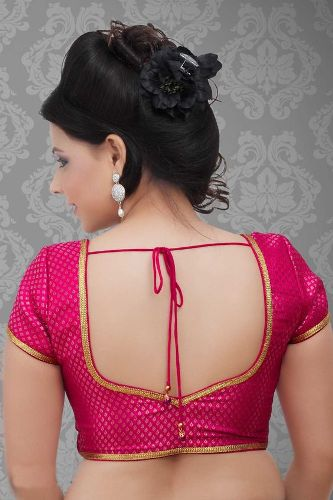 Pink Back Lace Blouse Design 4