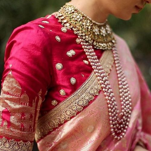 Pink Blouse Design For Weddings 1
