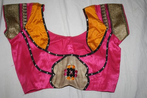 Pink Patchwork Blouse For Festive Season 12