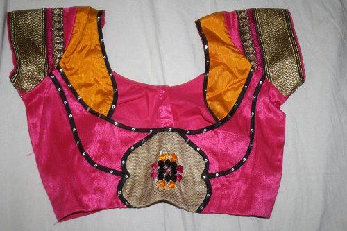 Pink Patchwork Blouse For Festive Season 12