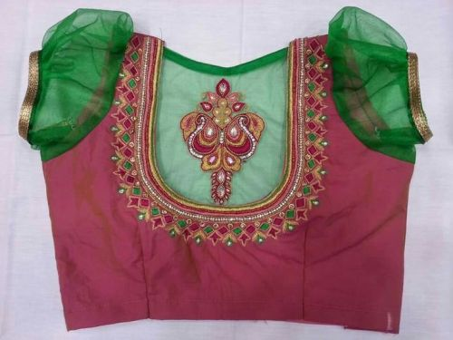 Pink and Green Designer Patchwork Blouse 13