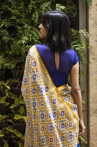 Plains Sarees With Designer Blouse-Eye-Shape Back Opening Designer Blouse 12