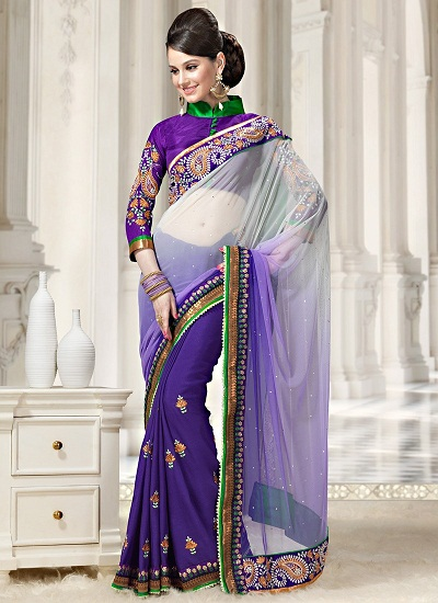 ce43a7e3b658c This particular off-white saree comes with the inclusion of a shaded purple  colour which is the prime allure of this design. You can use this as a  party ...