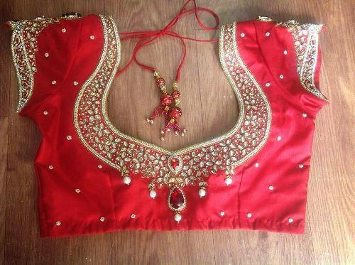 Red Blouse Designs-Gem Blouse Design 1