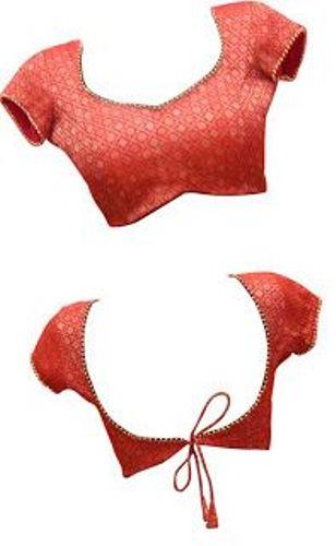 Red Front and Back Patchwork Designer Blouse 9