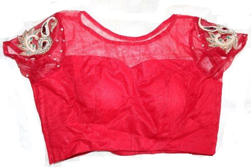 Red Round Neck Transparent Blouse 3