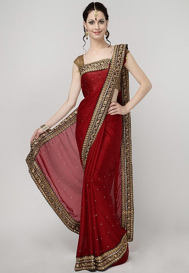68dfbc7913 This is a designer red saree that has almost a similar border patch design  like the previous one. The small and intricate designs done in the border  portion ...