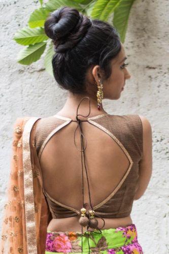 Saree Blouse Back Neck Designs-Backless Blouse 9
