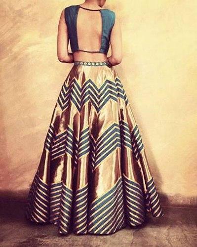 Saree Blouse Back Neck Designs-Blue Laced Blouse 1
