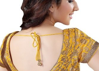 Saree Blouse Back Neck Designs-Yellow Stylish Blouse Back Neck 4