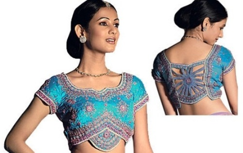 Saree Blouse Designs-Asymmetrical Blouse Design 14