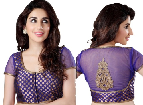 Saree Blouse Designs-Blue Sheer Blouse 5