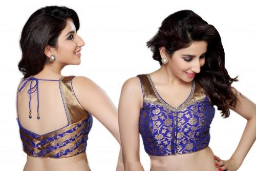 Saree Blouse Designs-Blue and Golden Blouse 4