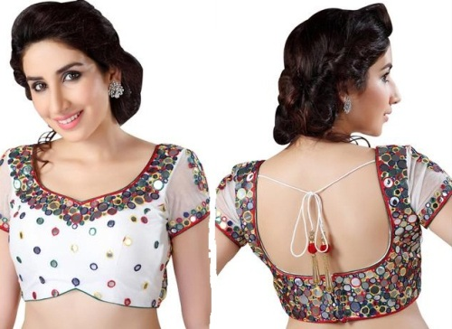 Saree Blouse Designs-Mirrored Blouse Design 13