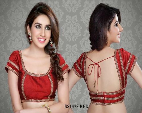Saree Blouse Designs-Red Blouse with Zari 7